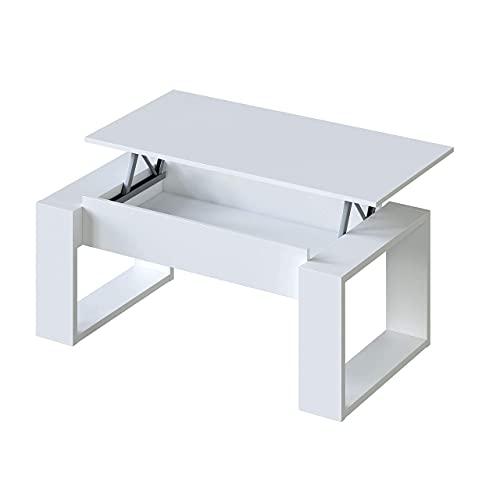Mesa de Centro Elevable, Mesita de Salon, Comedor, Modelo Nova, Acabado en Blanco Artik, Medidas: 105 cm (Largo) x 55 cm (Ancho) x 45-54 cm (Alto)