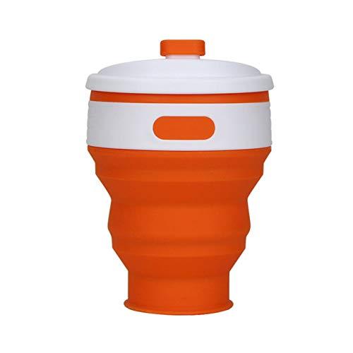 SDFJKO Tasse à café Les Tasses à café Pliantes en Silicone de qualité Alimentaire sans BPA pour l'extérieur Tasse à thé Tasse à Eau Pliable Portable, Orange