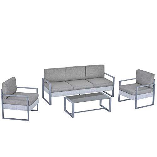 Outsunny Salotto da Giardino Set 4 Pezzi Mobile da Giardino con Tavolino, Divano 3 Posti, 2 Poltrone e Cuscini, Alluminio e Vetro Grigio