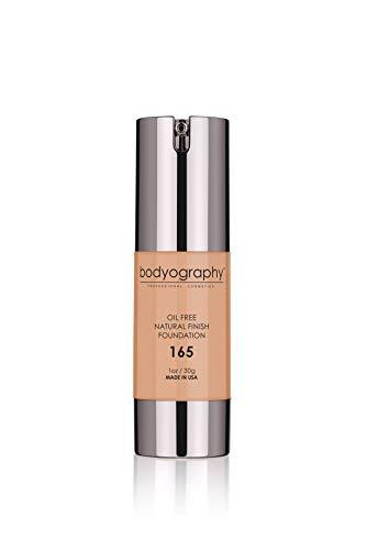 Maquillaje Bodyography Matte Foundation (Medio # 165): Salón natural antienvejecimiento sin aceite, acabado natural con vitamina E, C, antioxidantes | Vegano, Sin Gluten, Sin Parabenos