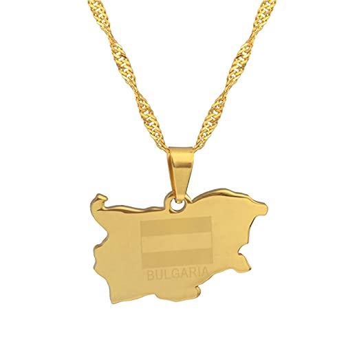 YUANYIRAN Karte Von Bulgarien Anhänger Halsketten - Charme Afrika Land Karten Flagge Dünne Kette Halsketten, Patriotische Gold Farbe Karte Hip Hop Schmuck Für Frauen Männer Party Geschenk