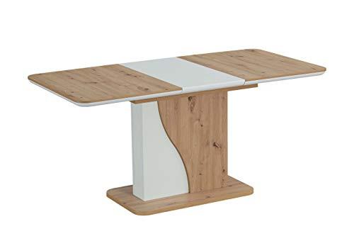 Interdesign24 Esstisch Ausziehbar Erweiterbar Säulentisch Syrius in Eiche Weiss 120-160cm