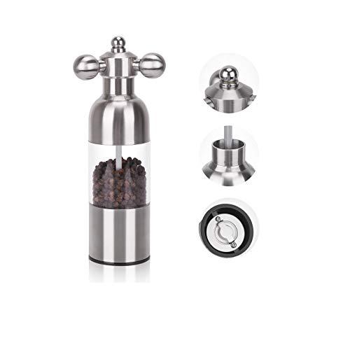Ausbond Macina pepe, macina sale e pepe manuale con macinacaffè in ceramica regolabile e impugnatura rotante, 200 ml in acciaio inossidabile di grande capacità - Regalo