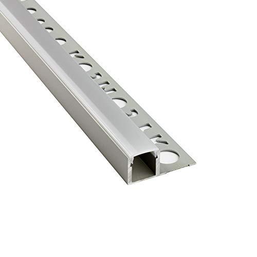 LED Aluprofil T77 silber 12mm Fliesenprofil + Abdeckung Abschlussleiste Bordüre Fliesen für LED-Streifen-Strip 2m milky