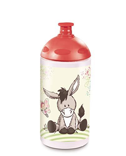 Nici 45447 Trinkflasche, Esel und Schmetterling, 0,5l, rot