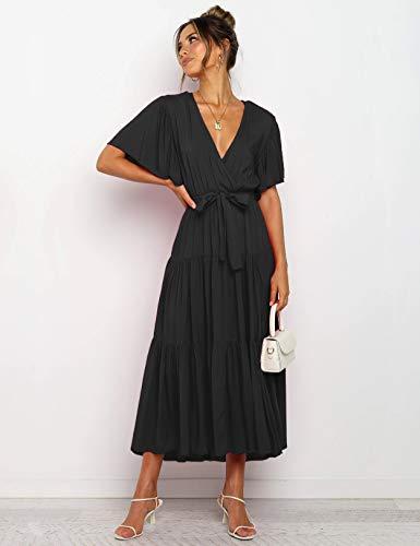 Vestido Mujer Bohemio Largo Verano Playa Fiesta Wrap Maxi Vestidos Cóctel Falda Larga con Cinturón Negro XL