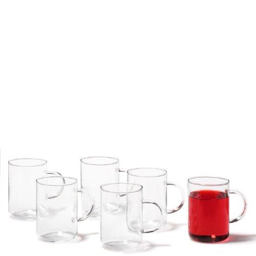 Leonardo theeglas Novo, theeglazen met handvat, glazen mok gemaakt van hittebestendig borosilicaat, 360 ml inhoud, 6-delig, 030525