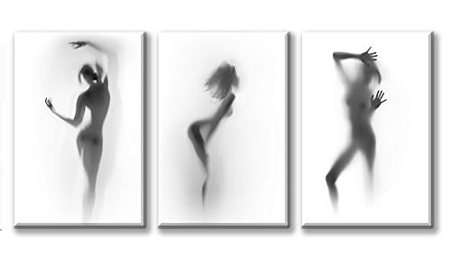 Bathroom Wall Art Decor Canvas Print Black and White Hazy Silhouette Painting 3 Pieces Modern Abstract Picture Poster Artwork for Home Decoration Stretched Framed Ready to Hang 16x24'x3
