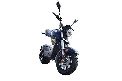 ES-TOYS Elektro Scooter Motorrad mit Straßenzulassung bis zu 45 km/h schnell - ca. 40-45 km Reichweite, 60V | 1500W | 12AH Akku - C1 (Schwarz)