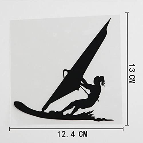 Bbdyhyrqcd 3 Piezas Pegatinas de coche-12,4 cm x 13 cm Deportes acuáticos Windsurf Surfista Playa Estilo Vinilo Pegatina para Coche