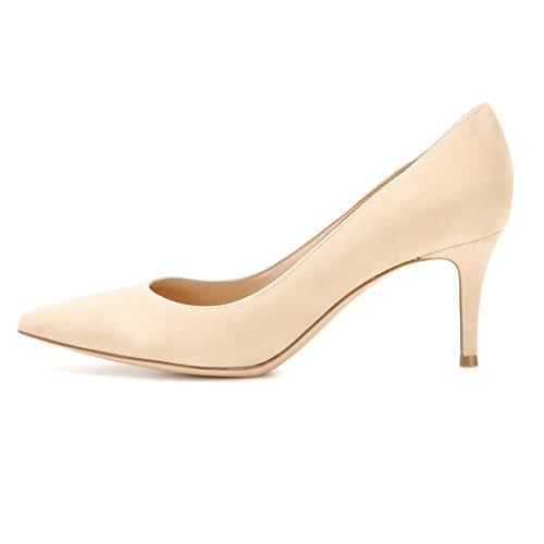 EDEFS Spitz Damen Pumps Klassische Kitten Heel Absatz Pointed Toe Schuhe Camel Größe EU37