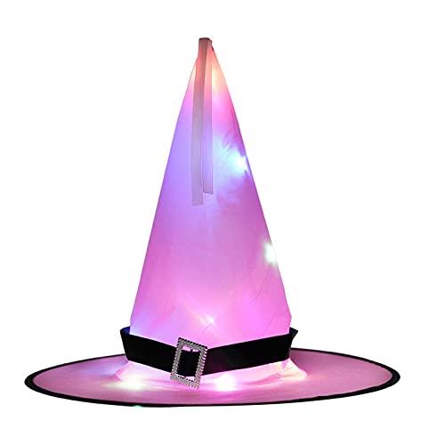 XIXIMAON Sombrero Brillante de Halloween Sombrero de Bruja Iluminado con Luz LED Decoracin de Halloween Disfraz de Adultos y Nios para Fiesta de Halloween Carnaval (Rosa, Talla nica)