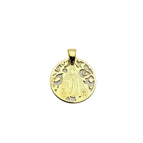 Medalla Virgen Milagrosa en Plata de Ley Cubierta de Oro de 18kt y Diamante