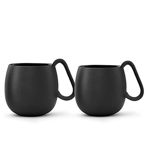 VIVA scandinavia Teetassen Set 2-TLG aus Porzellan mit Henkel, Matt Schwarz