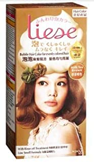 LIESE Bubble Hair Color Milk Tea Brown 1s -The Non-drip Foam enables Complete Coverage with Ease, Resulting in a vibrantly Rich and Long-Lasting Colour