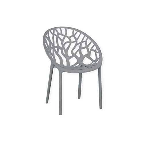 HTI-Living Stuhl Forest Gartenstuhl Kunststoffstuhl Stapelstuhl Sitzmöbel Grau