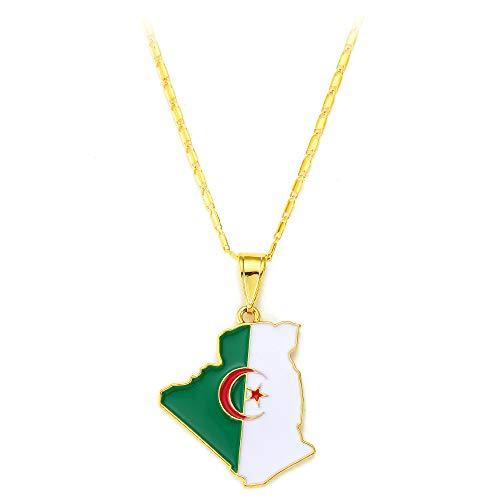 Chandler Algerien Karte Flagge Anhänger Halskette Hip Hop Schmuck für Frauen Männer Mädchen Geschenke