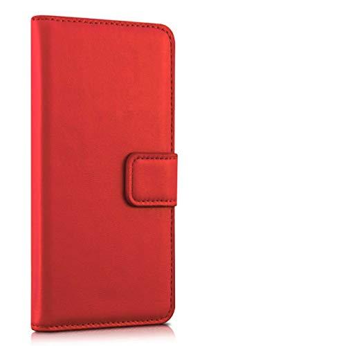 Compatible con Huawei P9 Lite (5.2) / G9 Lite / VNS-L23 VNS-L21 VNS-L31 Funda Cover Case Flip libro Stand Gel silicona TPU protección ecopiel cartera portatarjetas rojo
