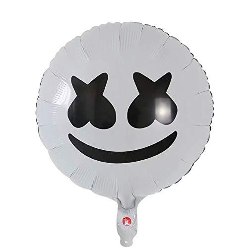 DAPANGZI 5 Stücke Zuckerwatte Folienballons Musik Maske Ballon Schwarz Weiß Neujahr Partydekorationen Kinder Spielzeug Air Helium Ballon Liefert, Weiß