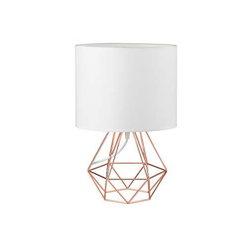 FRIDEKO HOME Vintage Mini Tischlampe - 18cm DIY Tischleuchte Modern Körbchenstil Stil Kreativer für Schlafzimmer Nachttischlampe Arbeitszimmer Office Weiß und Rose Golden