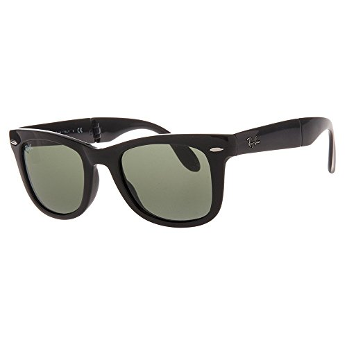 Ray-Ban Folding Wayfarer Sunglasses in Black Crystal Green RB4105 601 54