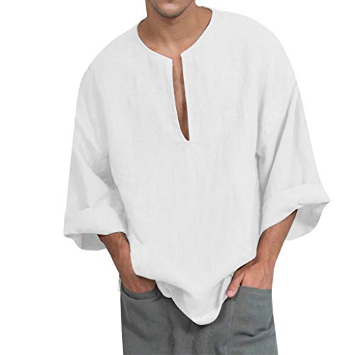 Luckycat Herren Hemden Herbst Baumwolle Leinen Shirt Langarm Leinenhemd Mode Bluse Top Herren Regular Fit Freizeithemd Casual T-Shirt Solid Langarm-Shirts für Männer Langarm Bluse