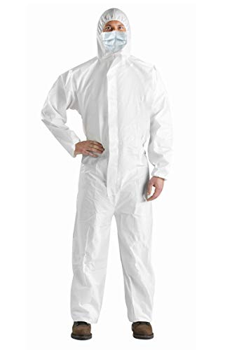 AMZ Anti-Static Fabric Coverall. White Adult Polypropylene and Polyethylene Coverall 4X-Large. Attached Hood, Zipper Front Entry, Elastic Wrists, Elastic Ankles Great for Liquids. Unisex Workwear.