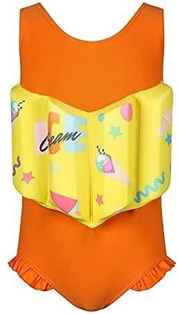 Traje de baño de moda Traje de buceo Buoyanía para niños Traje de baño Femenino para niños Traje de baño de una pieza Traje flotante de una pieza, brazo de buoyancia + sombrero + traje de baño + table
