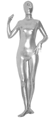 VSVO Unisex Baby Shiny Spandex Skin-Tight Full Bodysuit Zentai Costume (Small, Silver Grey)