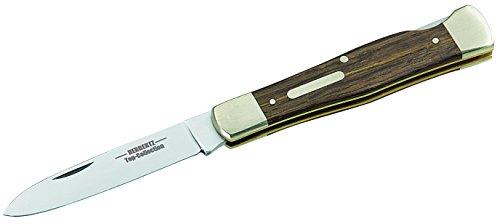 HERBERTZ Top-Collection Taschenmesser, Stahl 1.4110, Neusilberbacken, Mooreiche-Griffschalen, Gravurplättchen