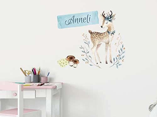 GRAZDesign Wandtattoo personalisiert REH Baby Mint mit Namen - kleben über Bett Schrank Wand - Wandtattoos Kinderzimmer Babyzimmer Deko / 59x50cm
