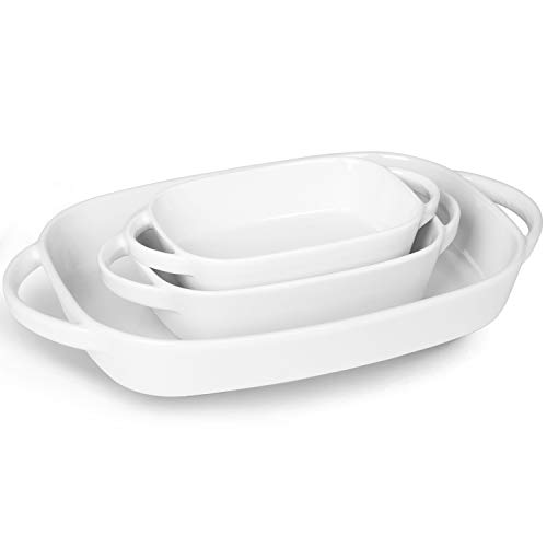 LEETOYI Porcelain Bakeware Set, Rectangular Baking Dish with Double Handle,Ceramics Baking Pans for Kitchen, Cooking, Cake Dinner 13.1-Inch/8.7-Inch/7.5-Inch(Set of 3), Off White