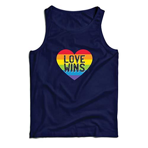 lepni.me Camisetas de Tirantes para Hombre El Amor GANA, el Orgullo, el corazón del Arco Iris - Día de San Valentín (Medium Azul Multicolor)