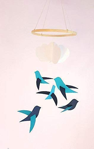 Móvil de bebé,5 Aves, una azul y una nube,Círculo, la madera,la Decoración, el pájaro,el nacimiento de los Dones,de Estilo escandinavo,Móviles para la cuna
