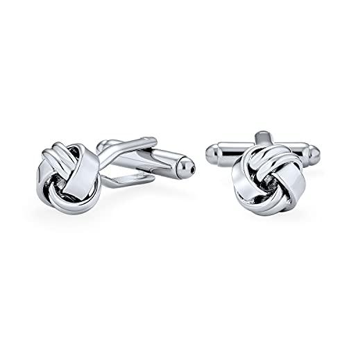 Bling Jewelry Twist Love Noeud Tissé Tressed Cable Ball Shirt Boutons de Manchette pour Les Hommes Executive Groom Cadeau Silver Tone Stainless Steel