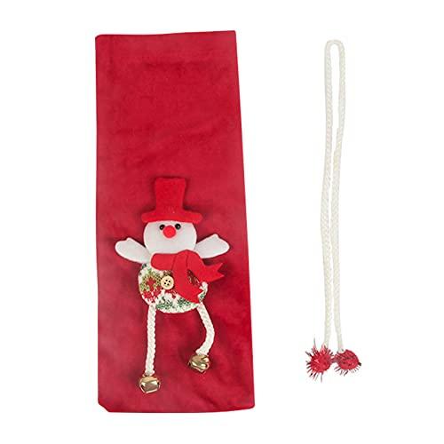 Suministros decorativos del kit de la Navidad 2021, bolsa de la botella de vino llamativa tela resistente al desgaste Navidad Festival rojo vino decorativo bolsa para el hogar