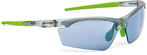 Breitfeld & Schlieckert Schicke Sonnenbrille/Sportbrille mit praktischen Wechselscheiben LEADER TRACKER (Transparent-Grün)