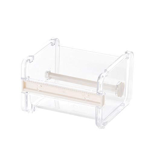 Dispensador de cinta de escritorio visible Washi Dispensador de cinta cinta transparente Titular Cortador de cinta del rollo de escritorio de oficina Escuela Beige