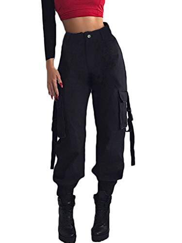 Shallood Mujer Pantalones Cargo Color Sólido Hip Hop Streetwear Pantalones Alta Cintura Harem Sport Sueltos Patchwork Jogger Pant