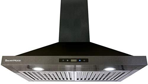 LeKITCHEN Range Hood | SmartHood SH600T 30'' | European Style | Black Stainless Steel | 450 CFM