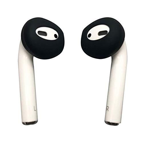 Amial Europe - Ear Caps Almohadillas Auriculares Compatible con AirPods [6 Piezas] EarPods Orejeras Protectoras de Silicona [Flexible Suave Anti-Slip] [Calidad Extra] (Negro)