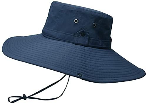 Chyang Hombre Impermeable al Aire Libre protección Sol Transpirable Pescador Gorra con Sombrero Plegable no Aburrido y a Prueba de Viento Gorras Simples Populares Vintage Sombreros (Color : Navy)
