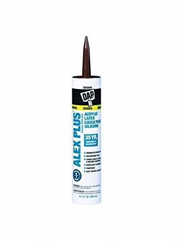 Dap 18120 12 Pack 10.1 oz. Alex Plus All Purpose Acrylic Latex Caulk Plus Silicone, Brown