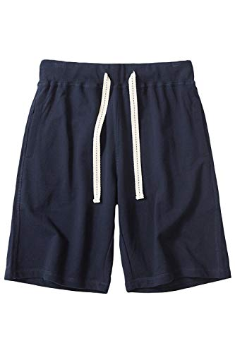 CZZSTANCE Mens Shorts Casual Cotton Workout Drawstring Summer Beach Shorts with Elastic Waist and Pockets Navy