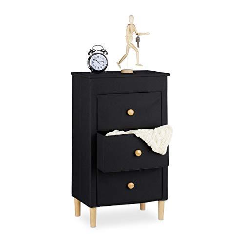 Relaxdays Cómoda Plegable, 3 Cajones Textiles con Mangos, Patas de Madera, Mueble de almacenaje, 82 x 48 x 32 cm, Negro, poliéster, cartón