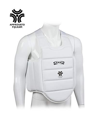 Itaki Corpetto Karate U14, Approvato FIJLKAM, Protezione Colore Bianco per ategoria Under 14 (M)