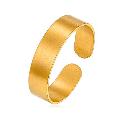 Accesorios Modernos para Dedos Anillo Ajustable 5mm Oro Amarillo 18K para Hombres y Mujeres