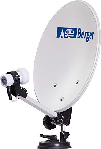 Berger Mobile Sat-Anlage im Campingkoffer Satelliten Schüssel Kompass Single LNB