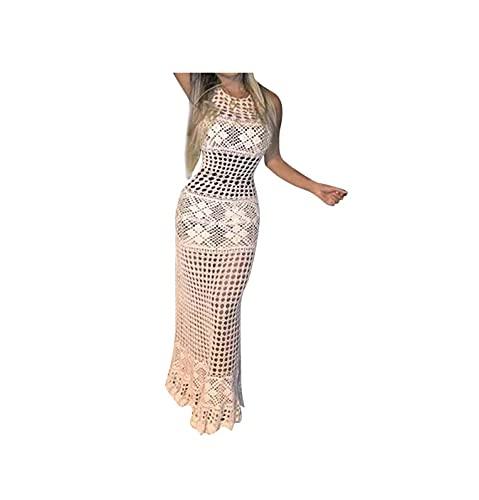 VODMXYGG Bikinis Mujer Impresión Traje de baño Bikini Floral impresión Inferior Traje de bañ Vestido de Playa de Punto de Ganchillo Hueco de la Cintura Vestido Sexy sin Mangas Vestido de Noche