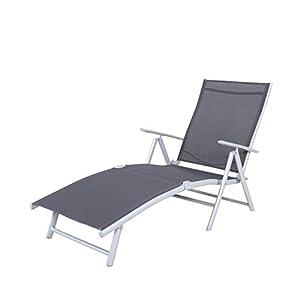 Chicreat Korfu, Einfache Sonnenliege, 147 x 63,5 x 87cm, Grau/Silber